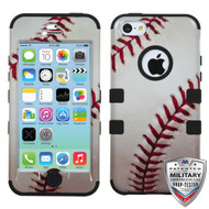 MyBat TUFF Hybrid Protector Cover [Military-Grade Certified] for Apple iPhone 5c - Baseball-Sports Collection / Black