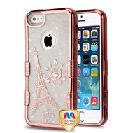MyBat Full Glitter TUFF Hybrid Protector Cover for Apple iPhone 5s/5 - Electroplating Rose Gold Eiffel Tower (Transparent Clear)