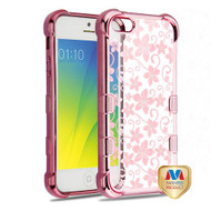 MyBat TUFF Klarity Candy Skin Cover for Apple iPhone 5s/5 - Rose Gold Plating & Hibiscus Flower