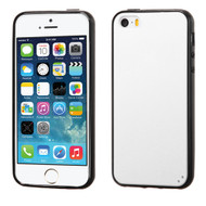 MyBat Gummy Cover for Apple iPhone 5s/5 - Solid White / Black