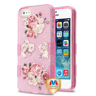 MyBat Full Glitter TUFF Hybrid Protector Cover for Apple iPhone 5s/5 - European Peony (Pink) Diamante