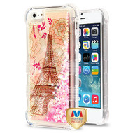 MyBat TUFF Quicksand Glitter Lite Hybrid Protector Cover for Apple iPhone 5s/5 - Eiffel Tower / Pink Hearts