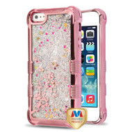 MyBat TUFF Quicksand Glitter Lite Hybrid Protector Cover for Apple iPhone 5s/5 - Rose Gold Electroplating / Spring Flowers / Silver Flowing Sparkles