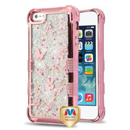 MyBat TUFF Quicksand Glitter Lite Hybrid Protector Cover for Apple iPhone 5s/5 - Rose Gold Electroplating / Butterflies in Spring Flowers / Silver Flowing Sparkles