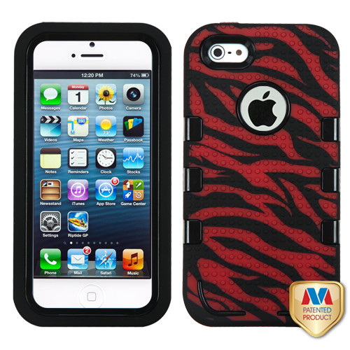 MyBat TUFF eNUFF Hybrid Phone Protector Cover for Apple iPhone 5s/5 - Natural Black / Zebra Skin (Red / Black)