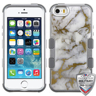 MyBat TUFF Krystal Gel Hybrid Protector Cover [Military-Grade Certified] for Apple iPhone 5s/5 - Gold & White Marble (Silver) / Iron Gray