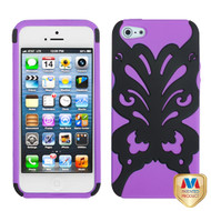 MyBat Butterflykiss Hybrid Protector Cover for Apple iPhone 5s/5 - Rubberized Black / Electric Purple