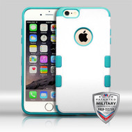 MyBat TUFF Merge Hybrid Protector Cover [Military-Grade Certified] for Apple iPhone 6s Plus/6 Plus - Natural Cream White / Tropical Teal
