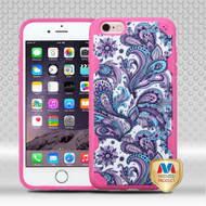 MyBat DefyR Hybrid Protector Cover-with Image for Apple iPhone 6s Plus/6 Plus - Purple European Flowers / Hot Pink