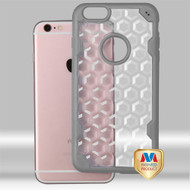 MyBat Challenger Hybrid Protector Cover for Apple iPhone 6s Plus/6 Plus - Transparent Clear Honeycomb / Iron Gray