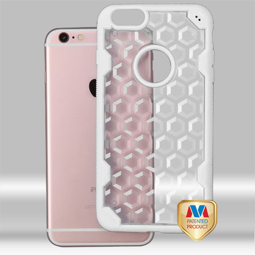 MyBat Challenger Hybrid Protector Cover for Apple iPhone 6s Plus/6 Plus - Transparent Clear Honeycomb / Solid White