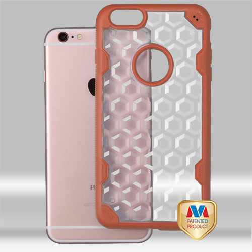 MyBat Challenger Hybrid Protector Cover for Apple iPhone 6s Plus/6 Plus - Transparent Clear Honeycomb / Orange