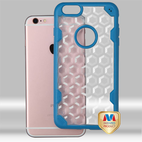 MyBat Challenger Hybrid Protector Cover for Apple iPhone 6s Plus/6 Plus - Transparent Clear Honeycomb / Dark Blue