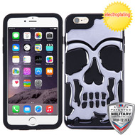 MyBat Skullcap Hybrid Protector Cover [Military-Grade Certified] for Apple iPhone 6s Plus/6 Plus - Gun Metal Plating / Black