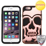MyBat Skullcap Hybrid Protector Cover [Military-Grade Certified] for Apple iPhone 6s Plus/6 Plus - Rose Gold Plating / Black