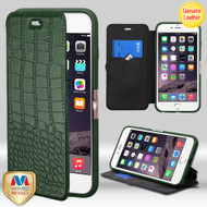MyBat Crocodile - Embossed Genuine Leather NeoUrban MyJacket Wallet for Apple iPhone 6s Plus/6 Plus - Forest Green / Black