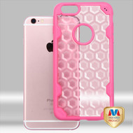 MyBat Challenger Hybrid Protector Cover for Apple iPhone 6s/6 - Transparent Rose Gold Honeycomb / Hot Pink