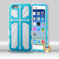 MyBat Cross Hybrid Protector Cover for Apple iPhone 6s/6 - Rubberized Baby Blue / Solid White