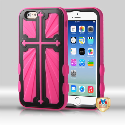 MyBat Cross Hybrid Protector Cover for Apple iPhone 6s/6 - Rubberized Black / Hot Pink