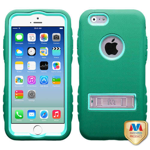MyBat TUFF eNUFF Hybrid Phone Protector Cover (with Metal Stand) for Apple iPhone 6s/6 - Natural Baby Green /  / Forest Green