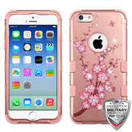 MyBat TUFF Hybrid Protector Cover (with Diamonds)[Military-Grade Certified] for Apple iPhone 6s/6 - Spring Flowers (2D Rose Gold) / Rose Gold
