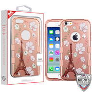 MyBat TUFF Hybrid Protector Cover (with Diamonds)[Military-Grade Certified] for Apple iPhone 6s/6 - Eiffel Tower in the Season of Blooming (2D Rose Gold) / Rose Gold