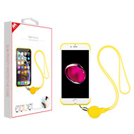 MyBat Slim Frosty Protective Case (with Yellow Lanyard) for Apple iPhone 8 Plus/7 Plus - Semi Transparent White Frosted / Yellow