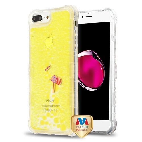 MyBat TUFF AquaLava Hybrid Protector Cover for Apple iPhone 8 Plus/7 Plus - Candyland (Lollipop / Candy) Yellow Oil