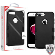 MyBat TUFF Hybrid Protector Cover [Military-Grade Certified] for Apple iPhone 8 Plus/7 Plus - Rubberized Black / Black