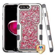 MyBat TUFF Vivid Hybrid Protector Cover for Apple iPhone 8 Plus/7 Plus - Silver Plating Frame+Hot Pink Mini Crystals Back / Iron Gray