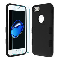 MyBat TUFF Lyte Hybrid Protector Cover (Tempered Glass Screen Protector) for Apple iPhone 8/7 - Rubberized Black / Black