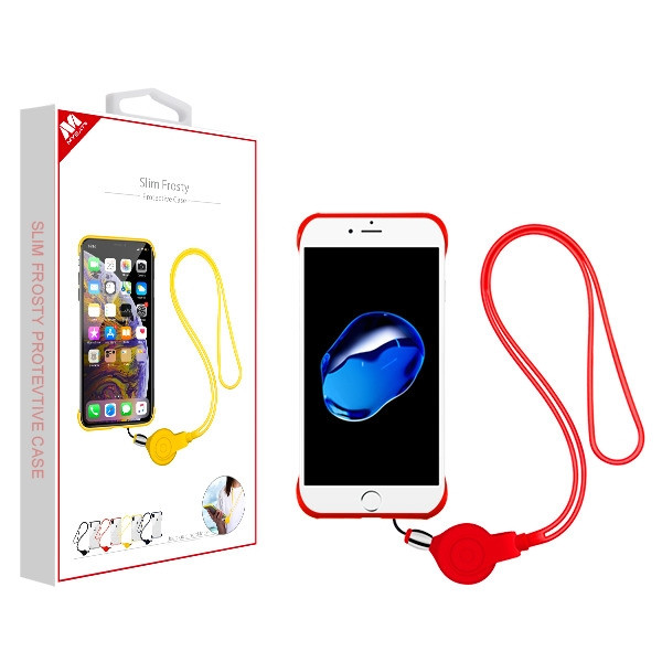 MyBat Slim Frosty Protective Case (with Red Lanyard) for Apple iPhone 8/7 - Semi Transparent White Frosted / Red