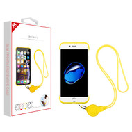 MyBat Slim Frosty Protective Case (with Yellow Lanyard) for Apple iPhone 8/7 - Semi Transparent White Frosted / Yellow