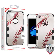 MyBat TUFF Hybrid Protector Cover [Military-Grade Certified] for Apple iPhone 8/7 - Baseball-Sports Collection / Black