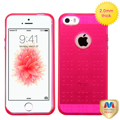 MyBat SPOTS Candy Skin Cover for Apple iPhone SE - Glassy Transparent Hot Pink