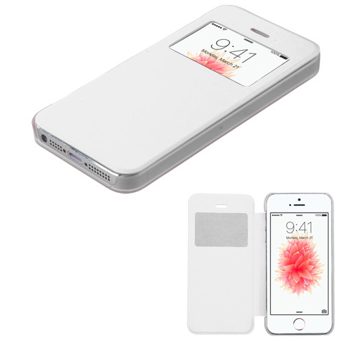 MyBat Silk Texture MyJacket (with Transparent Frosted Tray) for Apple iPhone SE - White