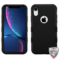 MyBat TUFF Hybrid Protector Cover [Military-Grade Certified] for Apple iPhone XR - Rubberized Black / Black