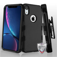 MyBat TUFF Hybrid Protector Case Combo [Military-Grade Certified](with Black Horizontal Holster) for Apple iPhone XR - Natural Black / Black