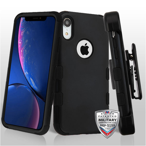 MyBat TUFF Hybrid Protector Case [Military-Grade Certified](with Black Horizontal Holster) for Apple iPhone XR - Rubberized Black / Black
