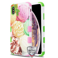 MyBat TUFF Hybrid Protector Cover [Military-Grade Certified] for Apple iPhone XS Max - Ice Cream Scoops / Electric Green & Soft Pink