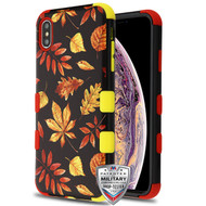 MyBat TUFF Hybrid Protector Cover [Military-Grade Certified] for Apple iPhone XS Max - Fiery Leaves / Red and Yellow