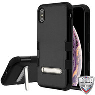 MyBat TUFF Hybrid Protector Cover (with Magnetic Metal Stand)[Military-Grade Certified] for Apple iPhone XS Max - Natural Black / Black