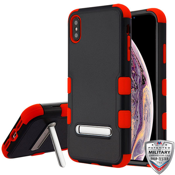 MyBat TUFF Hybrid Protector Cover (with Magnetic Metal Stand)[Military-Grade Certified] for Apple iPhone XS Max - Natural Black / Red