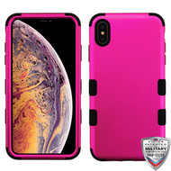 MyBat TUFF Hybrid Phone Protector Cover [Military-Grade Certified](with Package) for Apple iPhone XS Max - Titanium Solid Hot Pink / Black