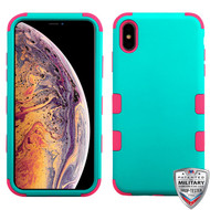 MyBat TUFF Hybrid Protector Cover [Military-Grade Certified] for Apple iPhone XS Max - Rubberized Teal Green / Electric Pink