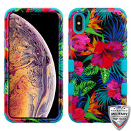 MyBat TUFF Hybrid Protector Cover [Military-Grade Certified] for Apple iPhone XS Max - Electric Hibiscus / Tropical Teal