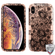 MyBat TUFF Hybrid Protector Cover [Military-Grade Certified] for Apple iPhone XS Max - Black Four-Leaf Clover (2D Rose Gold) / Rose Gold