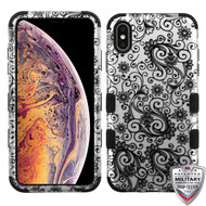 MyBat TUFF Hybrid Protector Cover [Military-Grade Certified] for Apple iPhone XS Max - Black Four-Leaf Clover (2D Silver) / Black