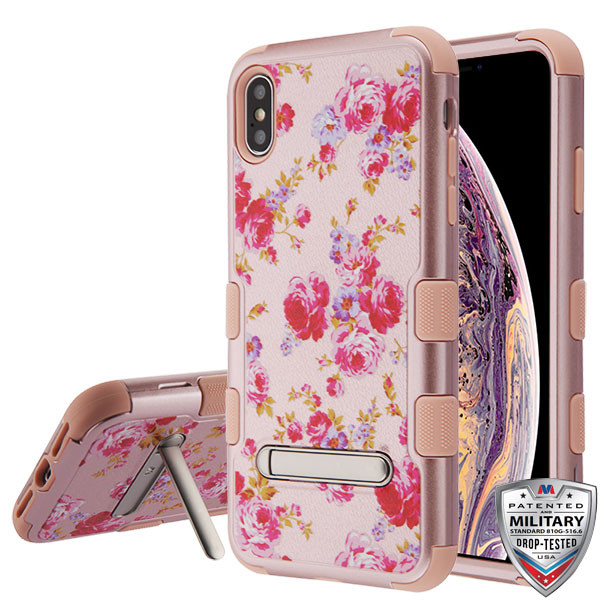 MyBat TUFF Hybrid Protector Cover (with Magnetic Metal Stand)[Military-Grade Certified] for Apple iPhone XS Max - Vintage Rose Bush Textured Rose Gold / Rose Gold