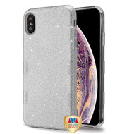 MyBat Full Glitter TUFF Hybrid Protector Cover for Apple iPhone XS Max - Silver
